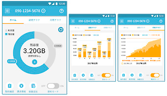 OCNモバイルONEアプリ画面