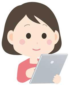 電子書籍を読む女性