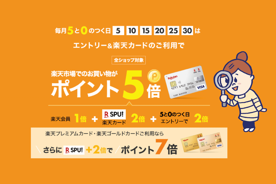 【ポイント5倍】楽天の買い物は5と0の付く日を狙おう!
